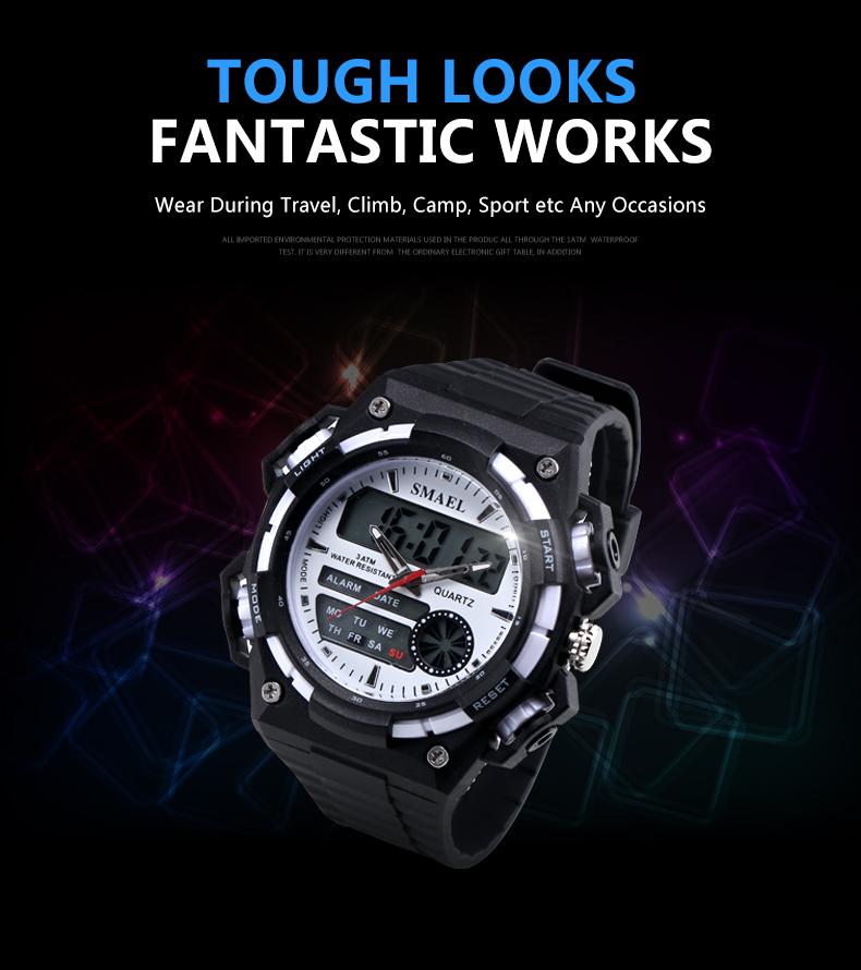 SMAELผู้ชายนาฬิกากองทัพดิจิตอลนาฬิกาสปอร์ตGสไตล์ช็อกนาฬิกาของมนุษย์1438นาฬิกาข้อมือm ontre homme LEDนาฬ... 12