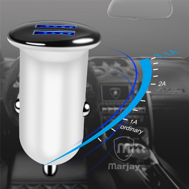 Marjay Mini Dual USB Car Charger Adapter 3.1A Car-Charger Mobile Phone Car USB Charger Auto Charge 2 Port for Samsung iPhone X (5)