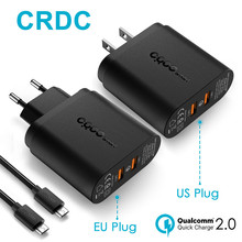 CRDC USB Wall Charger with Dual Quick Charge 2.0 QC 2.0 36W Turbo Fast Charger for Samsung Galaxy S7/S6 Edge LG &More(China)