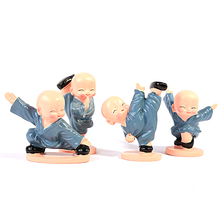 Arsmundi 4pcs/set Little kung fu Monk Craft Buddha Figures Home Decor Accessories Micro Resin Craft Car Ornaments Cute Gift