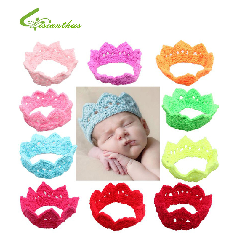 2017 New Style Beautiful Princess Headband Hairband Baby Knitting crown Photography hat Kids' Hair Accessories drop Free Ship(China (Mainland))