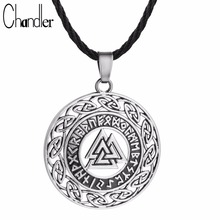 Chandler Celtic Infinity Knots Runes Necklace For Men Runic Norse Valknut Vikings Wikinger Antique Silver Sanskrit Charm Coiler(China)