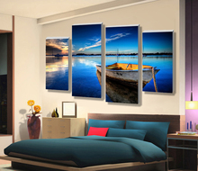 wholesale price modern scenery beautiful high definition printing 4 panel oil painting on canvas for new year no frame