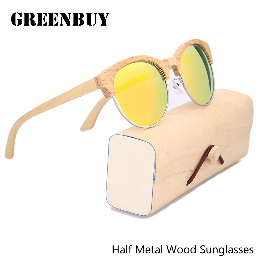 Half Metal Round Bamboo Sunglasses Orange Lenses Eye Color Polarized Women Round Sunglasses Wood Polarised Glasses Lentes de sol<br><br>Aliexpress