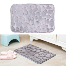 Gray Bathroom Carpet Comfortable Door mat Kitchen Bathroom Toilet WC Mat Non-Slip Flannel non-toxic PVC Bath Mat 40* 60cm