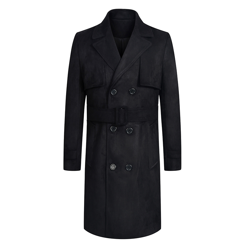 2017 winter men's fashion double-breasted thick  trench coat  Men's long Deer Blends woolen cloth coat jackets Free shipping