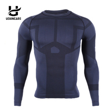 USKINCARE brand Seamless Fitness Men Compression Shirts movement tight Long Sleeve Breathable High Elastic Quick Drying clothing(China)