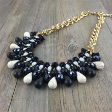 2017 New Design Fashion Party Elegant Jewel Black Chain Resin Stone Pendant Chunky Statement Necklace Choker For Women(China)