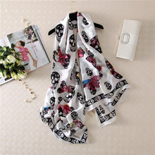 Retro Fashion Skull Head Wild Silk Scarf Printing Sunscreen Shawl Travel Essential Female Foulard Mousseline Woman Scarf Autumn