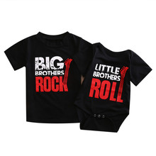 Emmababy children Baby BOY clothes Newborn Infant Kids Bebe letter litter brother roll Romper big brother rock T shirt Top