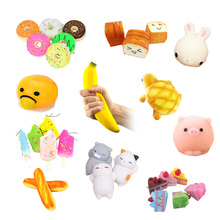 Cute Doughnut/rabbit/banana Slow Rising Squishy Scented Sweet Cream Charms Bread Pain Relieve Stress Hand Massage Toys(China)
