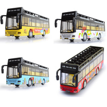 20cm 1/32 scale diecast car model Double Decker Sightseeing Tourist car Tour Bus Alloy open door Travelling bus W light&sound(China)