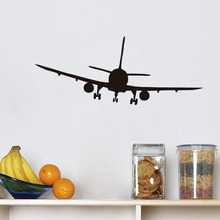 Hot Commercial Airliner Aeroplane Wall Sticker Removable Kids Room Art Decals Home Decor(China)