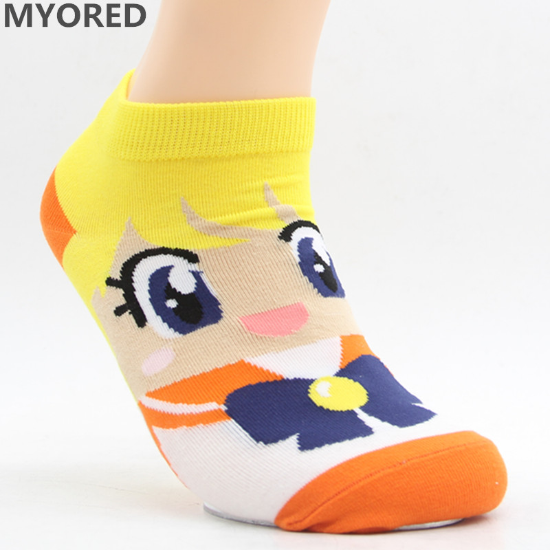 MYORED Spring summer fashion women's short tube socks cartoon cotton socks Cute lovely sailor moon female ankle sock 6pair/Lot 11
