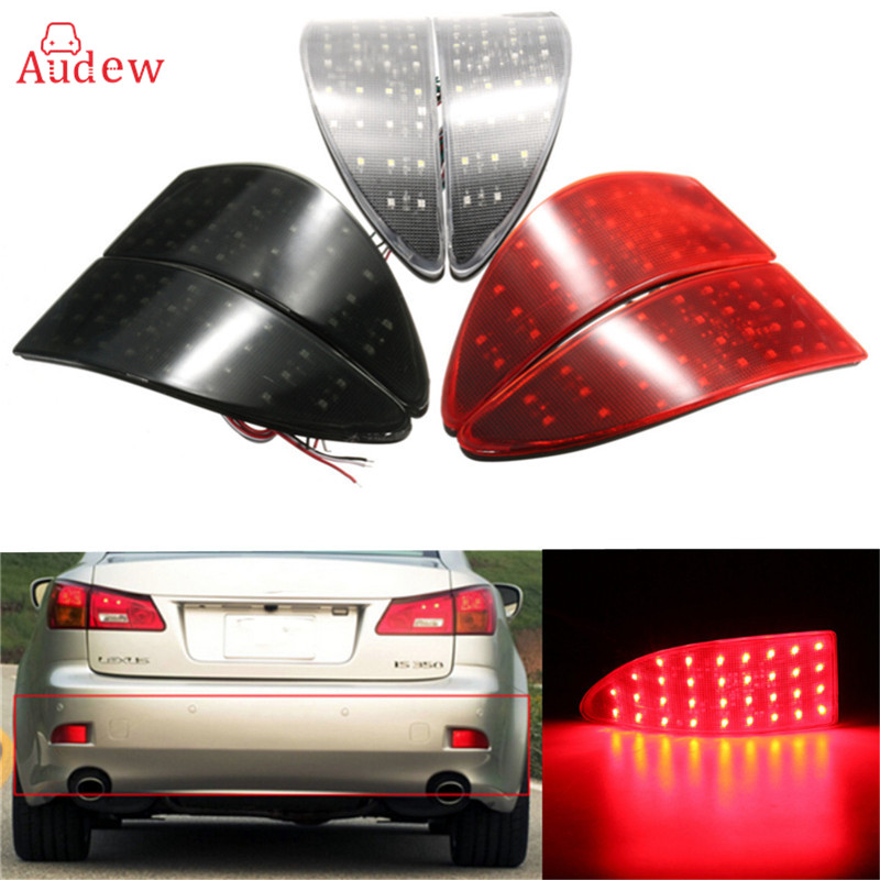 2Pcs Red Lens 33 LED Rear Bumper Reflector Light Brake Lamp Stop Light Rear Fog Light For Lexus IS 250 350 220d<br>