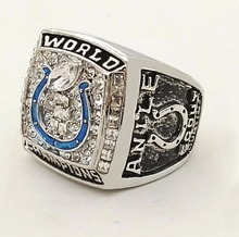 Who Can Beat Our Rings, High Quality Super Bowl 2006 Indianapolis Colts Super Bowl Zinc Alloy silver Championship Ring(China)