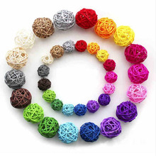 Hot Sale 20pcs/lot 3CM lovely Rattan Ball, Christmas/Birthday&Home Wedding Party Decorations DIY Ornaments Rattan Ball Kids Toys(China)