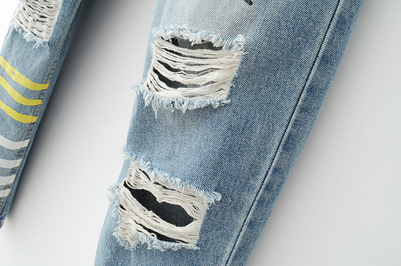 ShejoinSheenjoy Fashion Graffiti Print Jeans Woman High Waist Ripped Jeans For Women Zipper Casual Straight Denim Pants Trousers (24)