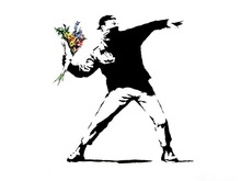 "Banksy Peace Art Graffiti Artist Fabric Poster 32"" x 24"" 17""x13""--02"