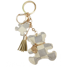 New fashion Key Chain Accessories Tassel Key Ring PU Leather Bear Pattern Car Keychain Bag Charm Jewelry