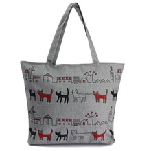 ASDS-Women Canvas Lady Shoulder Bag Handbag Tote Shopping Bags Zip Multi Pattern Cats(China)