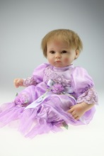 New Wholesale Reborn Princess Style Babydoll Purple Skirt Imported mohair Living Doll Toddlers' Toys Or Gift(China)