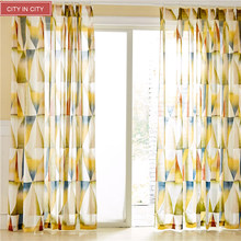CITYINCITY Elegant Geometry Voile Transparent Burnt-out Sheer For Kitchen And Livingroom Window Curtains Customized