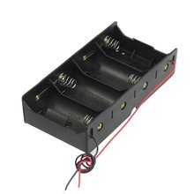 EDT-Black 4 x 1.5V D Battery Holder Storage Case Box w Wire Leads