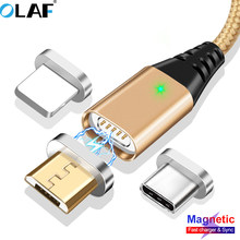 Magnetic USB Cable iPhone Magnet Data Charging Charger Adapter Type-c Cable Micro USB Cable Android Mobile Phone Cables