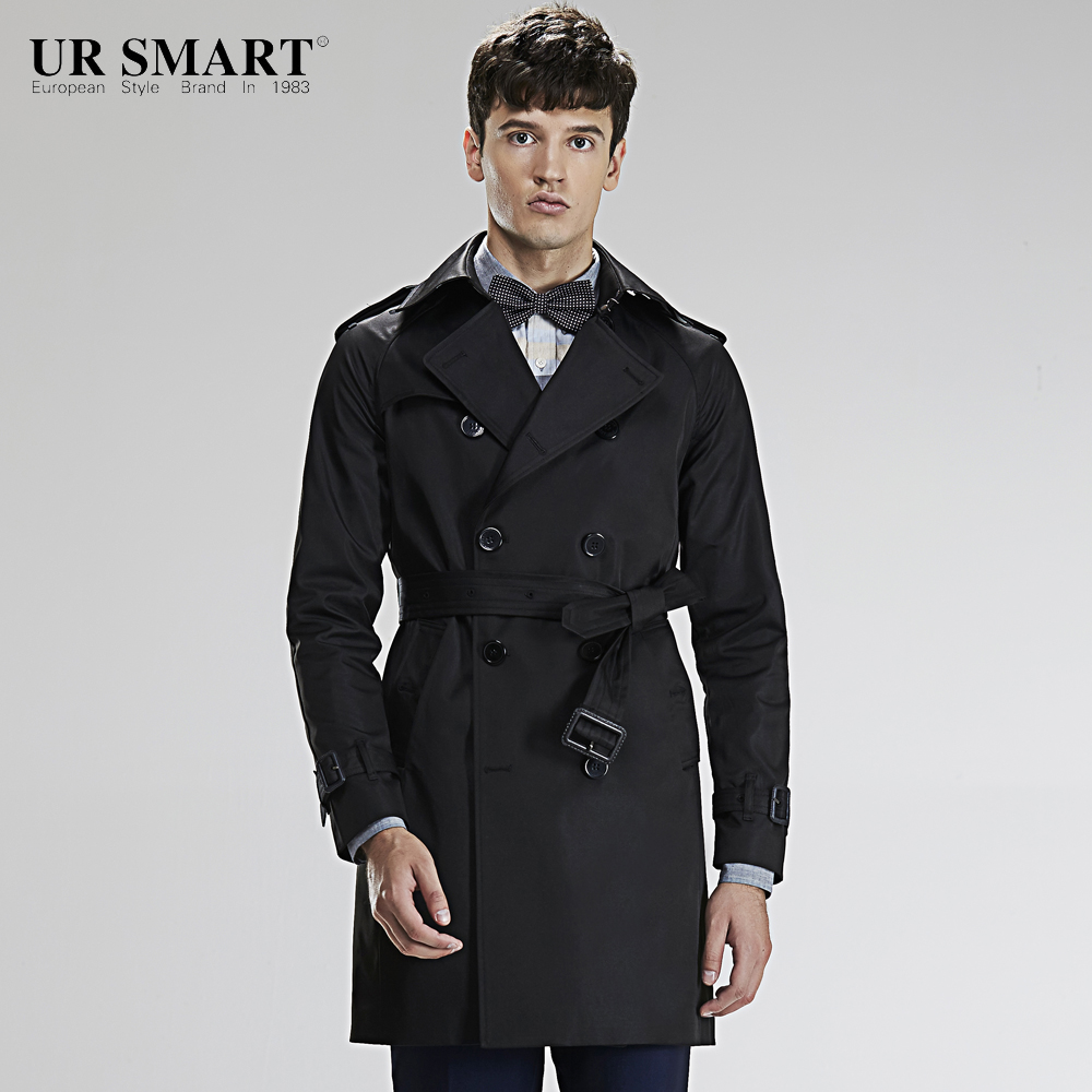 URSMART paragraph double-breasted grows in autumn and winter classic trench coat cultivate one's morality men's windbreaker