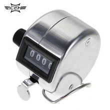 Stainless Metal Color Mini Sport Lap Golf Handheld Manual 4 Digit Number Hand Tally Counter Clicker Silver APJ
