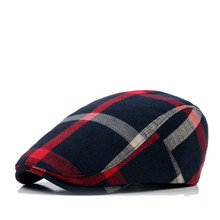 Designer Unisex Men`s Women`s Newsboy Hat Cotton Plaid Checked England Style Classic Ivy Irish Paperboy Cap Flatcap