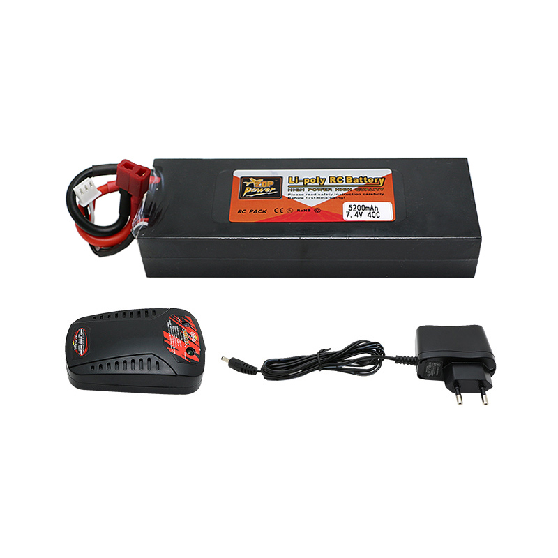 Original High Power 7.4V 5200mAh 40C 2S Lipo RC Battery Deans Plug + charger Li-polymer for RC Helicopter<br>