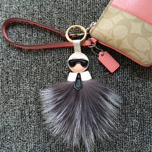 FLUFFY TWO SIDE MONSTER GENUINE FOX FUR KEYCHAIN FOR BAG PURSE HANDBAG CHARM ACCESSORY CAR KEY JEWELRY COOL GIFT
