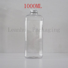Clear Plastic Packaging Bottles With Silver Aluminum Cap,Refillable Empty Cosmetic Containers,1000ML Shampoo,Shower Gel Bottle