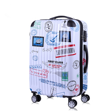 "20""24""Vintage luggage universal wheels trolley luggage stamps style luggage doodle suitcase for female and male"