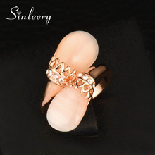 SINLEERY Trendy Rose Gold Color Double Opal Stone Finger Rings Midi Rings For Women Unique Designer Brand Jewelry JZ559