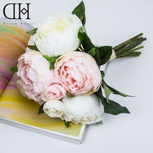 DH peony camellia 8 pcs flower bouquet artificial flowers for home decoration accessories artificial peonies wedding decor