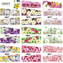 1Sheet Nail Art Flower Pattern Water Transfer Stickers Full Wraps Temporarily Tattoo Watermark Nail Tips Decals Decor LAA865-876