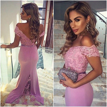 Sexy V Neck Mermaid Satin Lace Appliques Cheap Long Lavender Prom Dresses 2016 Gowns Abendkleider Backless Court Train
