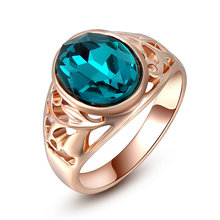 High Quality Brand Christmas Gift Classic Genuine Austrian Crystals Sample Sales Rose Gold Color Blue Stone Ring Jewelry Party