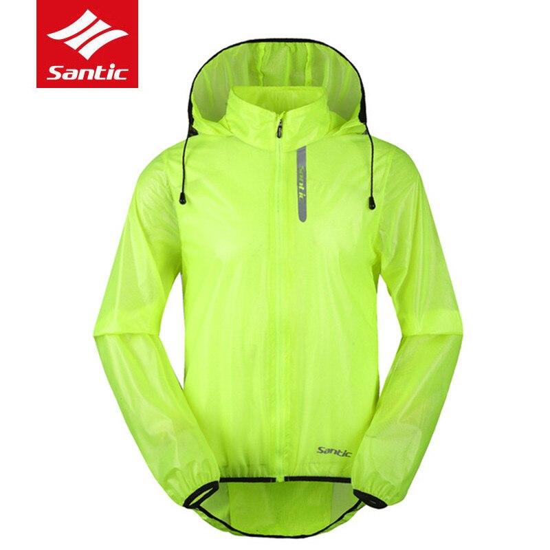 SANTIC Mtb Cycling Jackets Green Light Raincoat Windbreaker Men Women Ciclismo Long Down Jacket Outdoor Riding Bike Bicycle Coat<br>