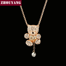 ZHOUYANG Top Quality ZYN064 Champagne Bear Necklace Rose Gold Color Fashion Jewellery Nickel Free Pendant Crystal