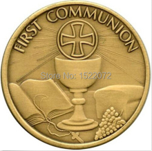 High quality and low price First Communion Bronze Engravable Medallion coins cheap custom antique  bronze medals coins