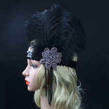 Roaring 20's Sequined Showgirl 1920s Flapper Headband Gatsby Rhinestone Beaded Headpiece with Feather Plume