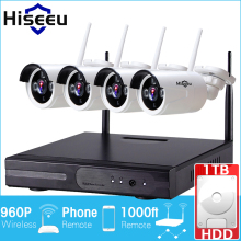 Hiseeu Wireless CCTV System 960P 4ch Powerful Wireless NVR 1TB HDD  IP Camera IR-CUT CCTV Home Security System Surveillance Kits