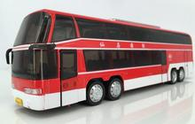 Tourist Bus Sound Light And Sound Passenger Train Alloy Lifelike Sound And Light Double-Decker Bus Kids Toys(China)
