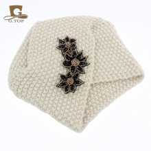 New Ladies Winter Warm Turban Soft Knit Headband Beanie Crochet Headwrap Women Hat Cap with beaded jewelry