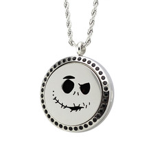 1X Women Necklace Silver Plated Halloween Pattern Wish Box Pad Perfume Essential Oil Aromatherapy Diffuser Round Locket Necklace