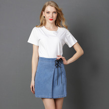 Buy Ejqyhqr Fashion Summer Denim Mini Skirts Women Lace Ladies Casual Slim Short Jeans Woman Fold Vintage A-line Skirt Plus Size for $17.00 in AliExpress store